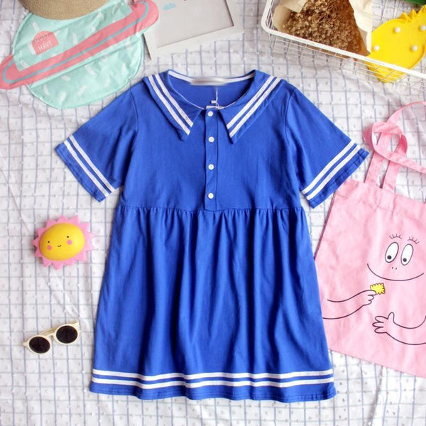 Pink/Blue Students Navy Collar Dress