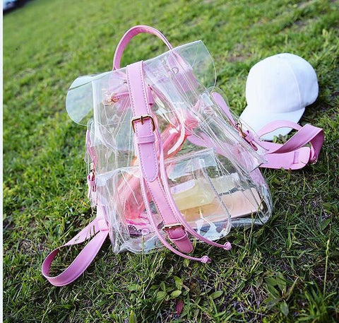 Pink/Light Green Transparent Backpack KW167042