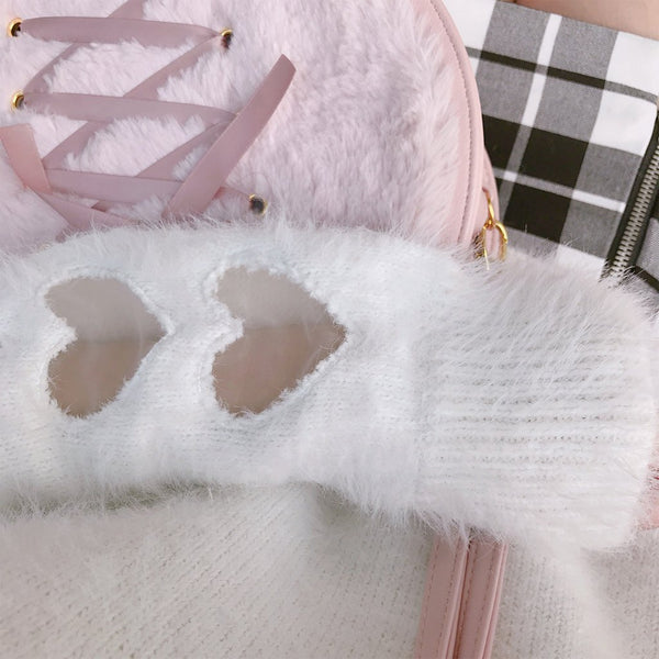 Pink/White Sweet Mohair Sweaters