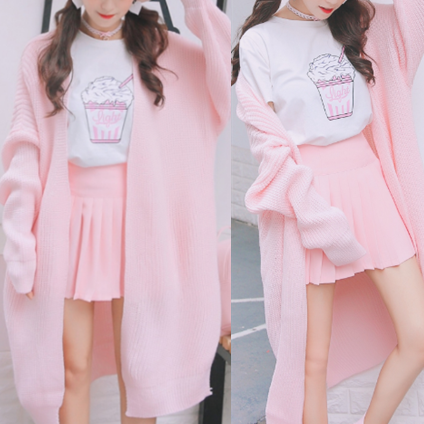 Pink/White Sweet Sweater Cardigan Coat