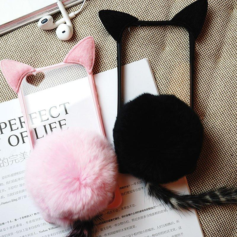 Plush Tail Kitty Cat Ear Phone Case