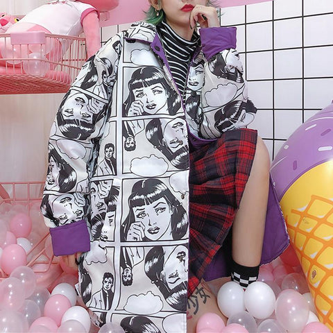 Purple/Green Oversize Harajuku Manga Coat K13500