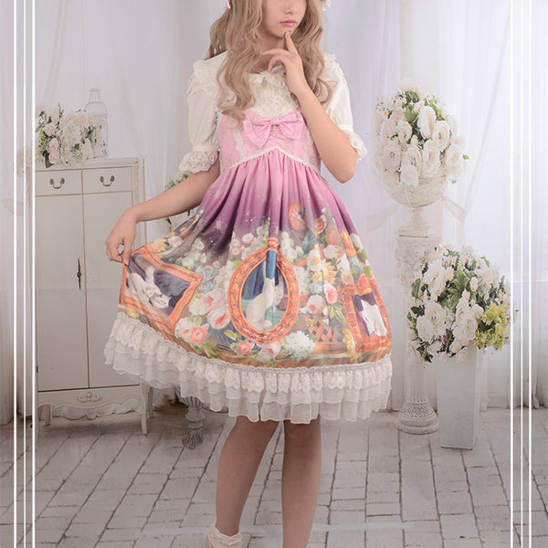 Purple/Pink/Blue Falbala Cat Bow Lolita JSK Dress