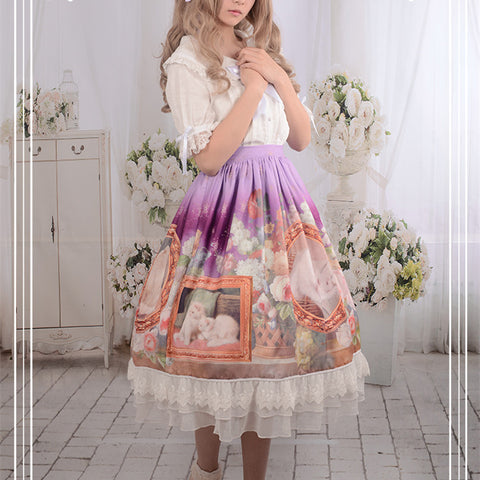 Purple/Pink/Blue Falbala Cat Lolita SK Skirt