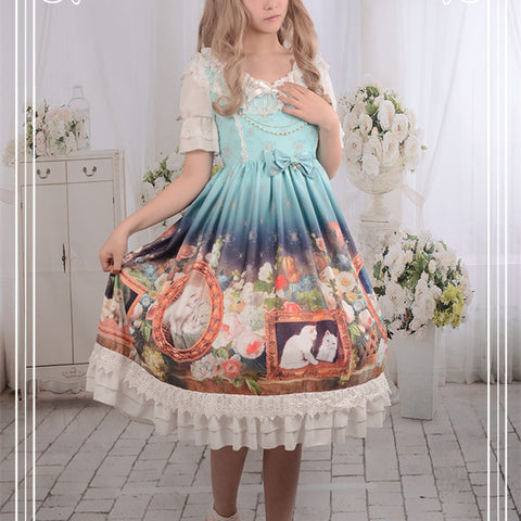 Purple/Pink/Blue Lolita Cat Oil Detachable Sleeves OP Dress