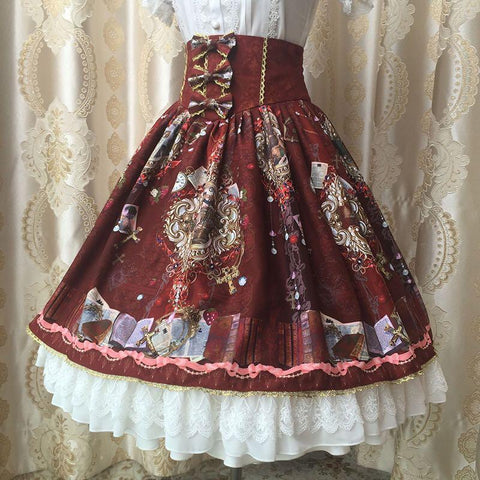 Purple/Red/Beige Retro Lace Bow Lolita Skirt K13188