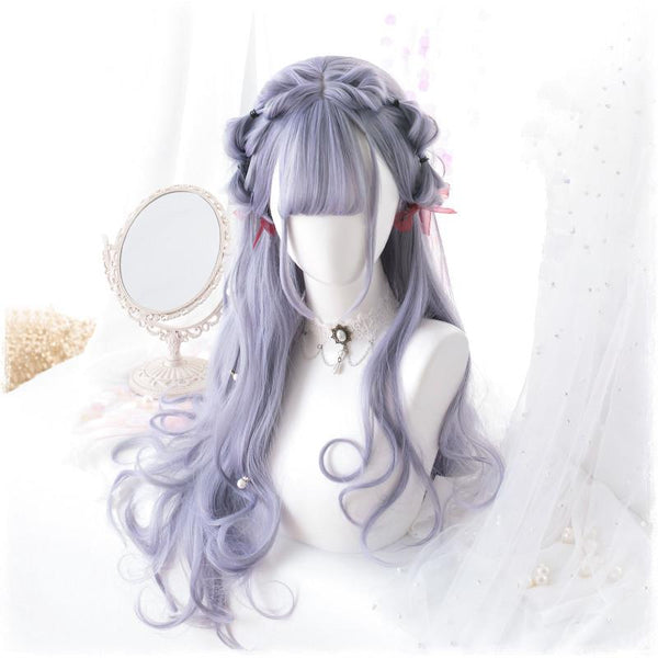 Purple Grey Harajuku Lolita Long Curl Wig K13658