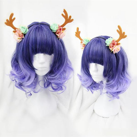 Purple Lolita Curly Short Hair Wig KW166712