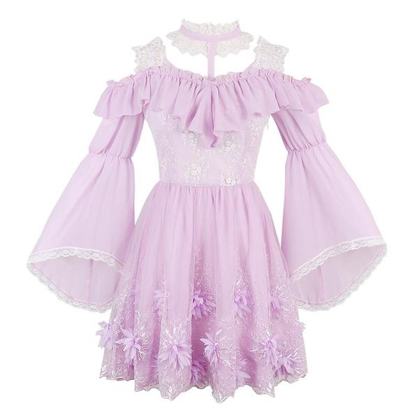 Purple Sweet Frilly Chiffon Dress KW1710634