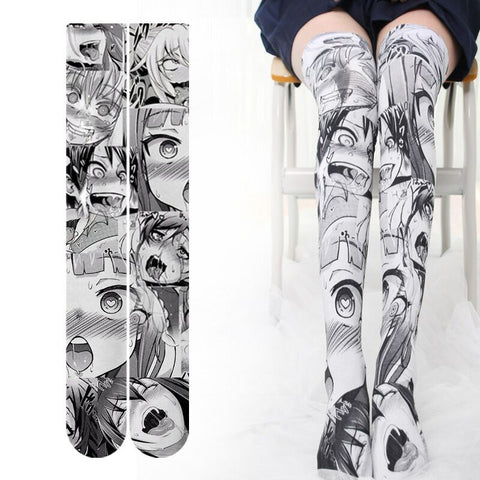 Kawaii Ahegao Velvet Long Socks K12686