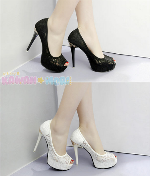 Sweet Floral Heels Shoes K13523