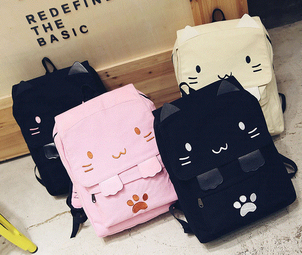 Cute Kawaii Cartoon Cat Canvas Backpack