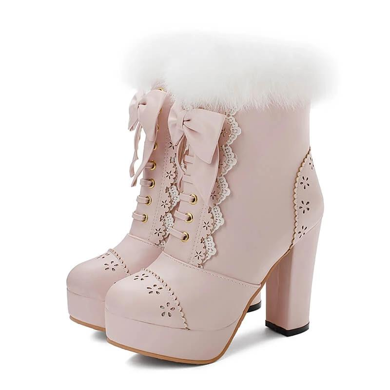 Rabbit Fur Lolita Kawaii Bow Boots K14452