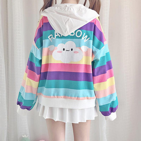 Rainbow Striped Zip Hoodie Jacket K14530
