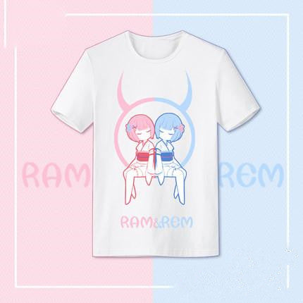 Re:Life in a different world from zero Rem Lem Twins Unisex Summer Cosplay t shirt KW179508