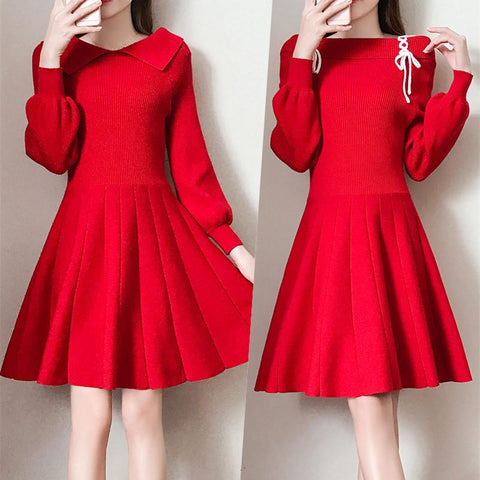 Red/Black/Pink Sweet Off-Shoulder Knitting Dress K13019