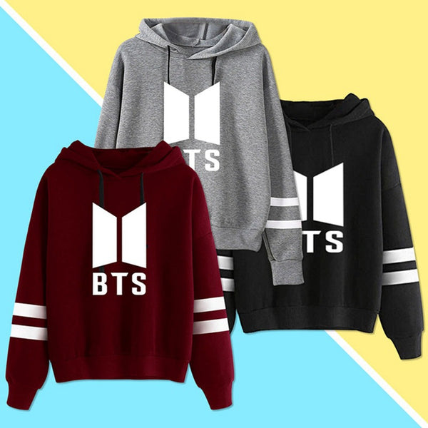 Red/Gray/Black BTS Stripes Hoodie Jumper K12856