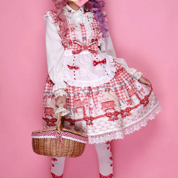 Red/Pink Bunny's Picnic Strawberries Lolita Dress