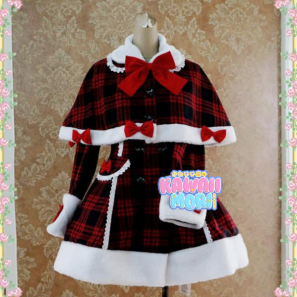 Red Black Grid Lolita Bow Woolen Coat K13129