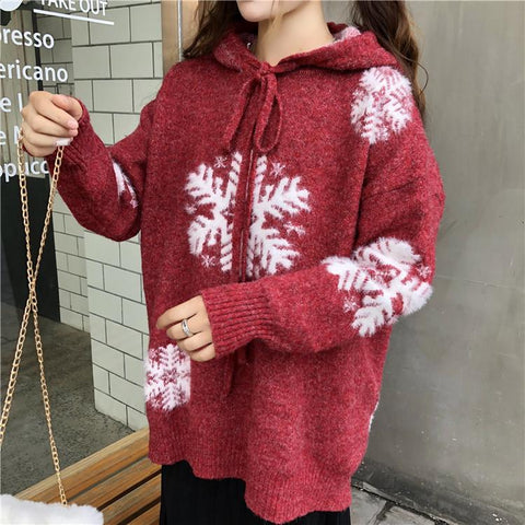 Red Christmas Snowflake Hoodie Sweater K12990