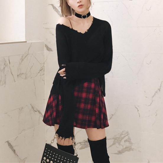 Red Grid Punk High Waist Skirt K13444