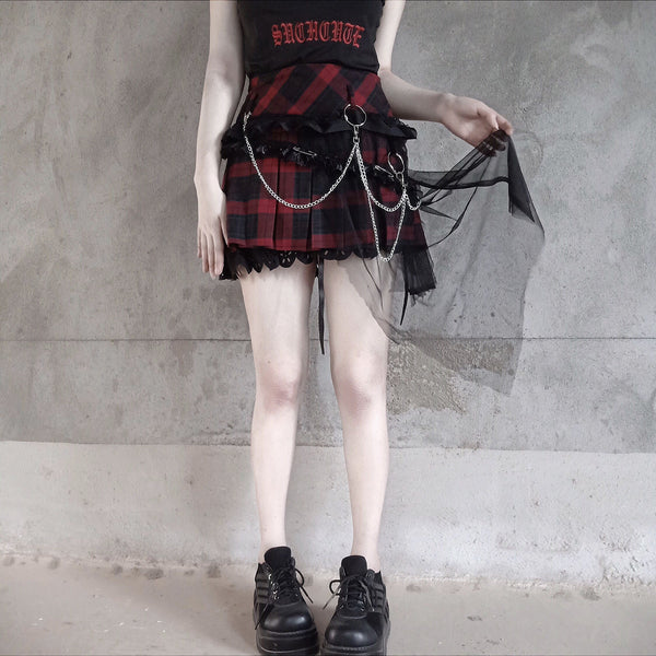 Red Plaid Punk Lace Skirt K14085