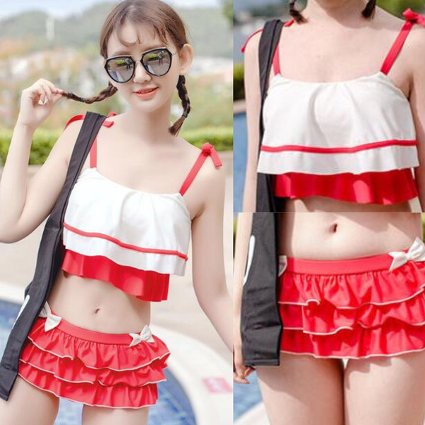 Red/Blue Bowknot Bikini Set KW1710169 - kawaiimoristore