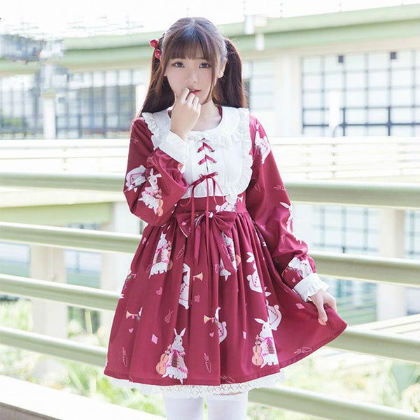 Red/White Bunny Printed Dress