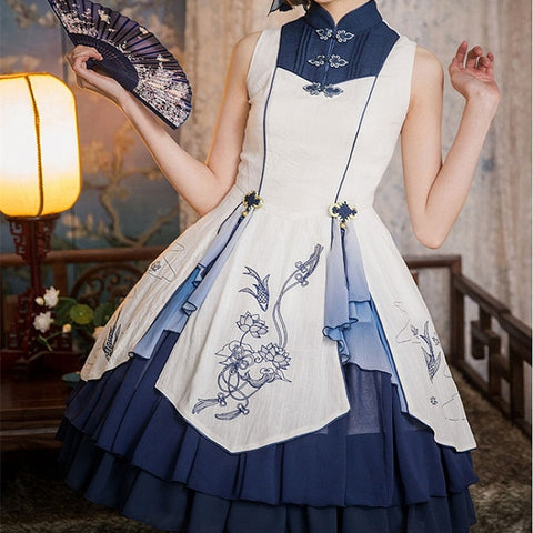 [Reservation] 3 Colors Chinese Mandarin Collar JSK Dress