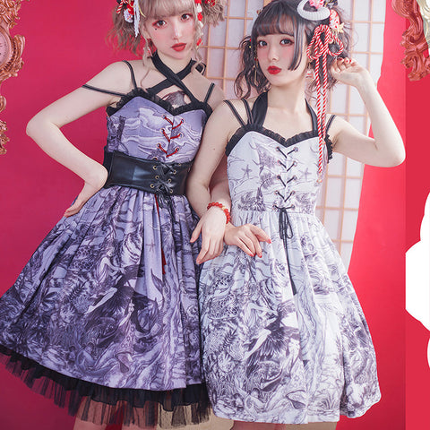 [Reservation] 3 Colors Fantasy Lolita Shirring Strap JSK Dress