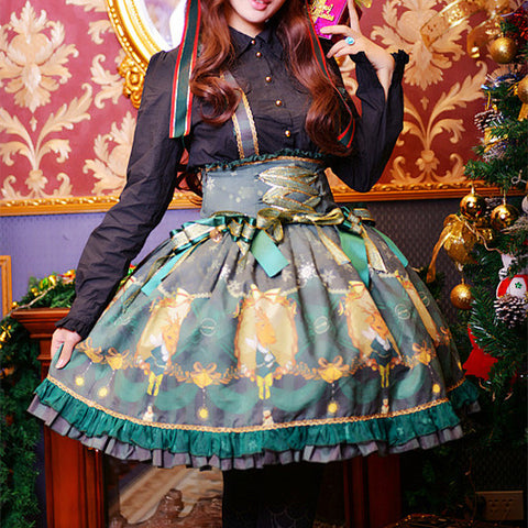 [Reservation] 5 Colors Xmas Deers Lace Lolita JSK Dress