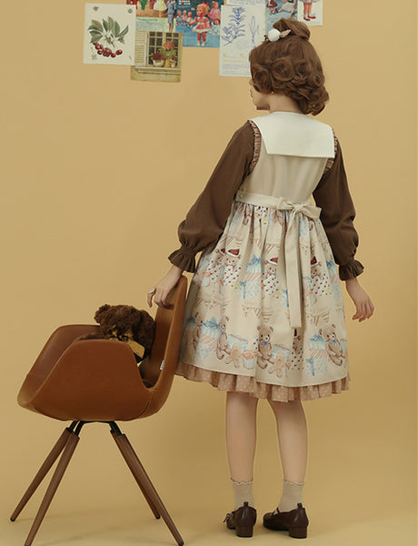 [Reservation] Kawaii Bear Gift Detachable Collar Lolita Dress