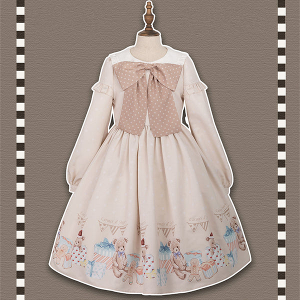 [Reservation] Kawaii Bear Gift Lolita Bow Dress