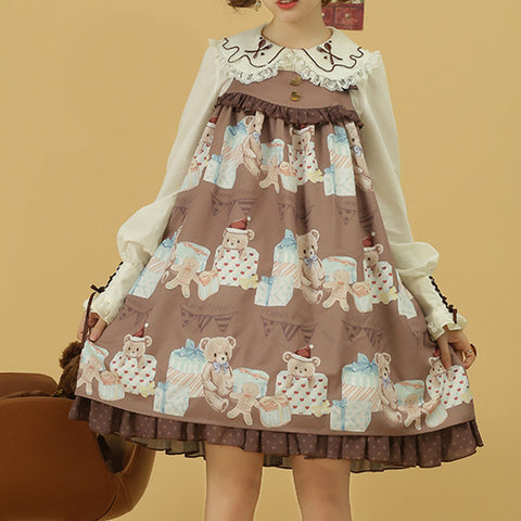 [Reservation] Kawaii Bear Gift Lolita Suspender Dress