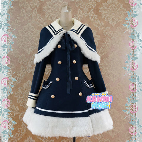 [Reservation] Navy/Pink/Wine Lolita Woolen Sailor Cape Coat K13124