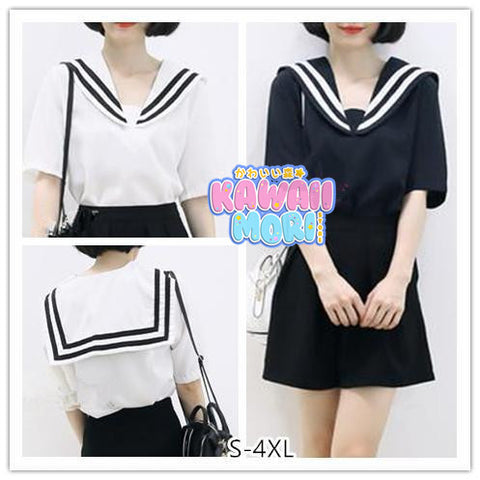 S-4XL 3 Colors Summer Oversized Sailor Tee Shirt KW152514