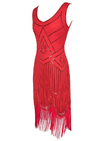1920s Sequin Fringed Flapper Dresses - DelaFur Wholesale