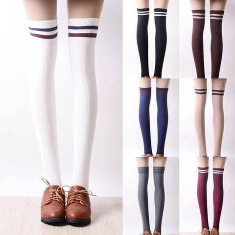 Tall Girls! 8 Colors Stripes Thigh High Long Socks KW153727