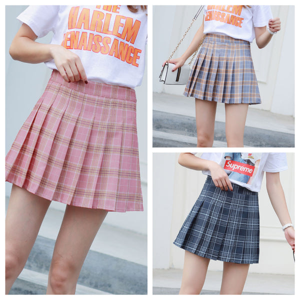 Pink/Grey/Navy Grid Preppy Style Pleated Skirt KW179294