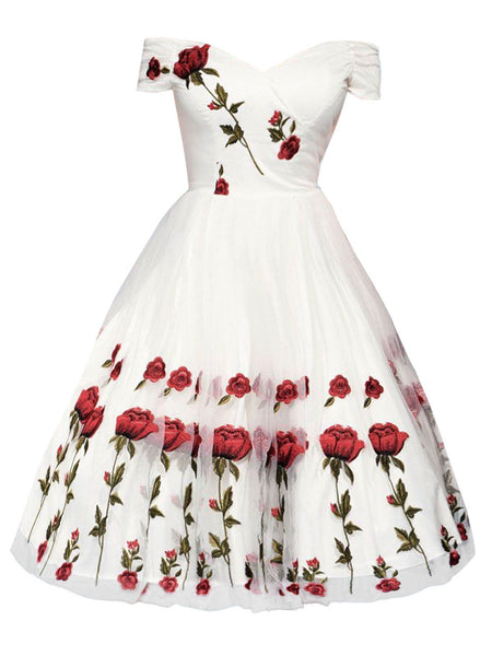 1950s Rose Embroidery Wedding Dress - DelaFur Wholesale