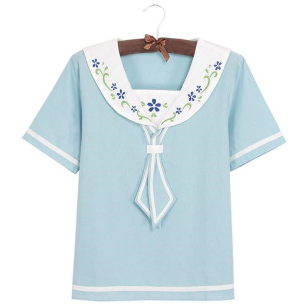 Sailor Collar Floral Embroidery Short Sleeve Shirt K14333 - kawaiimoristore