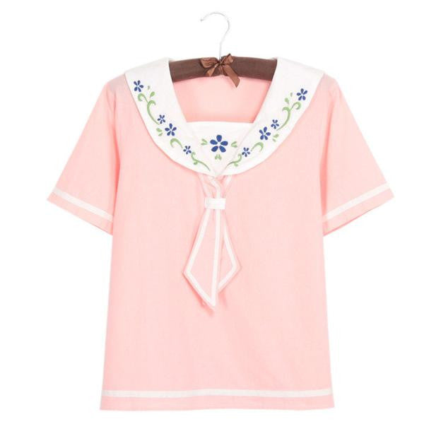 Sailor Collar Floral Embroidery Short Sleeve Shirt