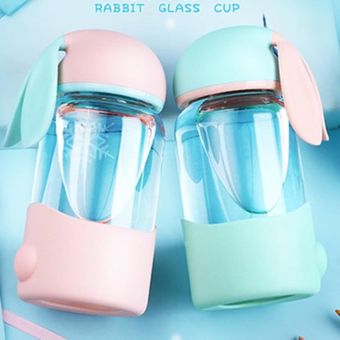 4 Colors Pastel Rabbit Glass Bottle KW179713