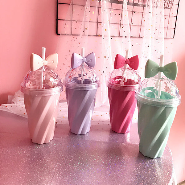 Pink/Green/Purple/Hot Pink Pastel Bow Straw Bottle KW179838