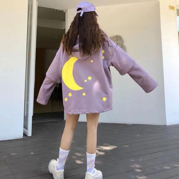 Purple/Black Star Moon Print Fake Two-piece Hoodie Sweatshirt K14360