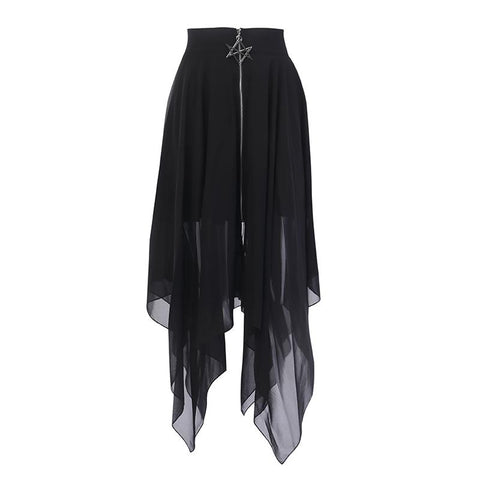 Black Mesh Irregular Pentagram Zipper Punk Skirt K14715 - kawaiimoristore
