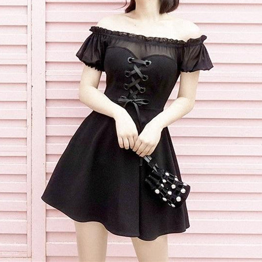 Summer Black Heart Ribbon Mesh Shoulder-less Dress K14361 - kawaiimoristore
