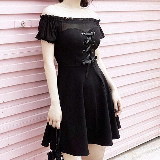 Summer Black Heart Ribbon Mesh Shoulder-less Dress