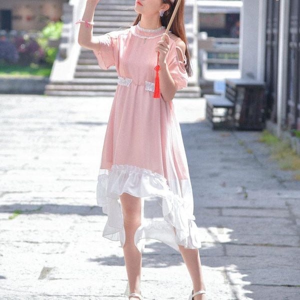 Summer Pink Lace Mesh Leaf Dress KW1812468
