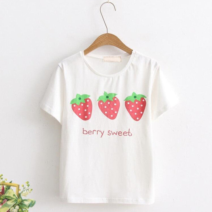 Summer strawberry short-sleeved T-shirt